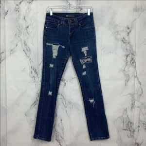 Levi Distressed Mid-Rise Jeans